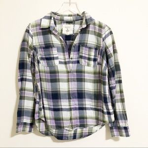 🌸 Sonoma | Green and purple plaid flannel
